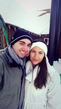 snow, couple, portland